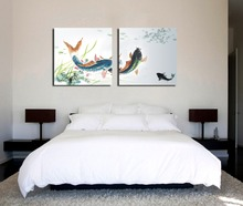 New Arrival 2-piece Swimming Fish Painting  Pictures Printing on Canvas Decorations for Living Room ( Frame:NO)