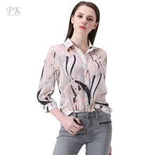 PK 2017 Women summer Chiffon Blouses OL Office Blouse turn collar easy shirt slim fitting Tops flower print sexy - poison kisses Store store