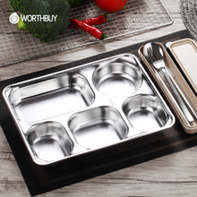 WORTHBUY 304 Stainless Steel Snack Plate For Canteen Restaurant Food Container Bento Lunch Box Kids Dinner Plate Tray Rice Dish
