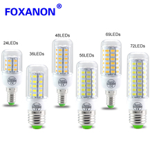 Foxanon E27 E14 220V Led Light Smart IC Power 5730 Corn Bulb lampadas 36 48 56 69 72 81 89Leds lampada led Lamp Candle Lighting
