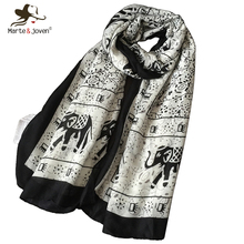 [Marte&Joven] New Designer Elephant Printed Long Scarves Women Bohemia Style Brand Beach Shawls Ladies' Autumn Winter Foulard