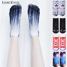 LIEBE ENGEL 2017 Hot 3D Printed Skeleton Socks Cute Animal Cat Carton Character Dollar Bill Skull Foot Funny Socks Women(China)