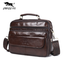 CROSS OX New Arrival Mens Genuine Leather Flap Bag Vintage Business Satchels Bag Shoulder Bag Oil Wax Cow Leather Handbag SL421M(China)