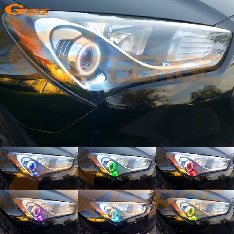 For HYUNDAI GENESIS COUPE 2013 2014 2015 2016 Excellent Multi-Color Ultra bright RGB LED Angel Eyes kit<br>
