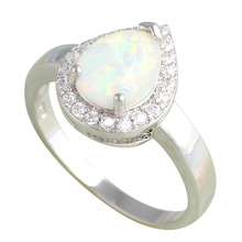 Popular design Water drop shape Wholesale Retail Green fire Opal Silver Stamped Rings fashion jewelry USA size #7#8#9#10 OR611A(China)