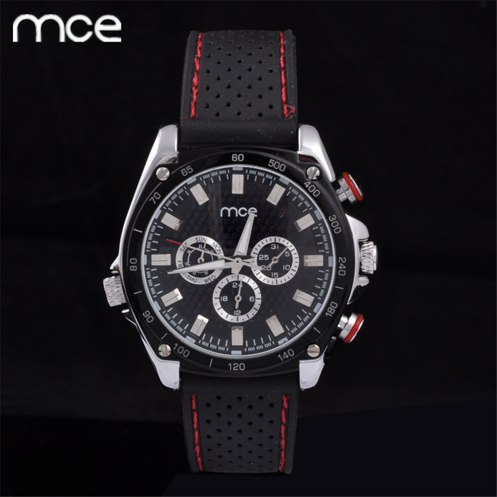 Original Box +MCE Mens white dial Analog Automatic Mechanical Watch Black Silicon  Wristwatch Auto Date Erkek Kol Saati 2016<br><br>Aliexpress