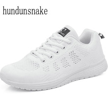 Hundunsnake Women Sneakers Running Ladies Sport Shoes White Breathable Female Krasovki Platform Gumshoes Sneaker Femme 2017 T163