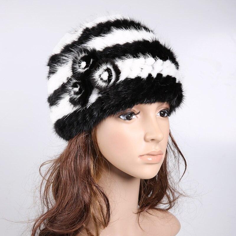 H923-elegant  black white gray  wholesale Women genuine mink fur  cap with flower autumn winter mink knitted hatОдежда и ак�е��уары<br><br><br>Aliexpress