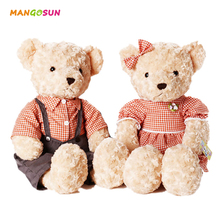 30cm Lovely Couple Plush Teddy Bear With Cloth Clothes Mini Stuffed Bear Soft Toys Birthday Gifts For Boys And Girls 6 Patterns(China)