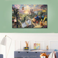 Thomas Kinkade Oil Paintings Beast and Beauty Art Decor Painting Print Giclee Art Print On Canvas