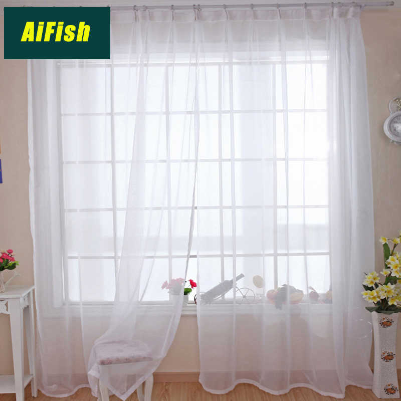 Solid White Sheer Curtains for Bedroom Window Screening Voile Organza Textured Curtains Drape Panel Tulles for Living Room W1844