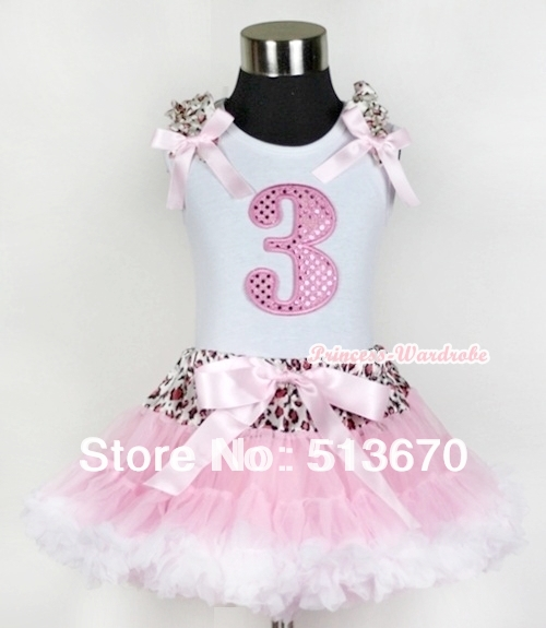 White Tank Top 3rd Light Pink Birthday Number &amp; Light Pink Leopard Ruffles Bow Leopard Waist Light Pink White Pettiskirt MAMG435<br>