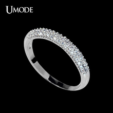 UMODE Luxury Tiny 0.005ct Studded Cubic Zirconia Half Circle Pave Finger Rings UR0022(China)