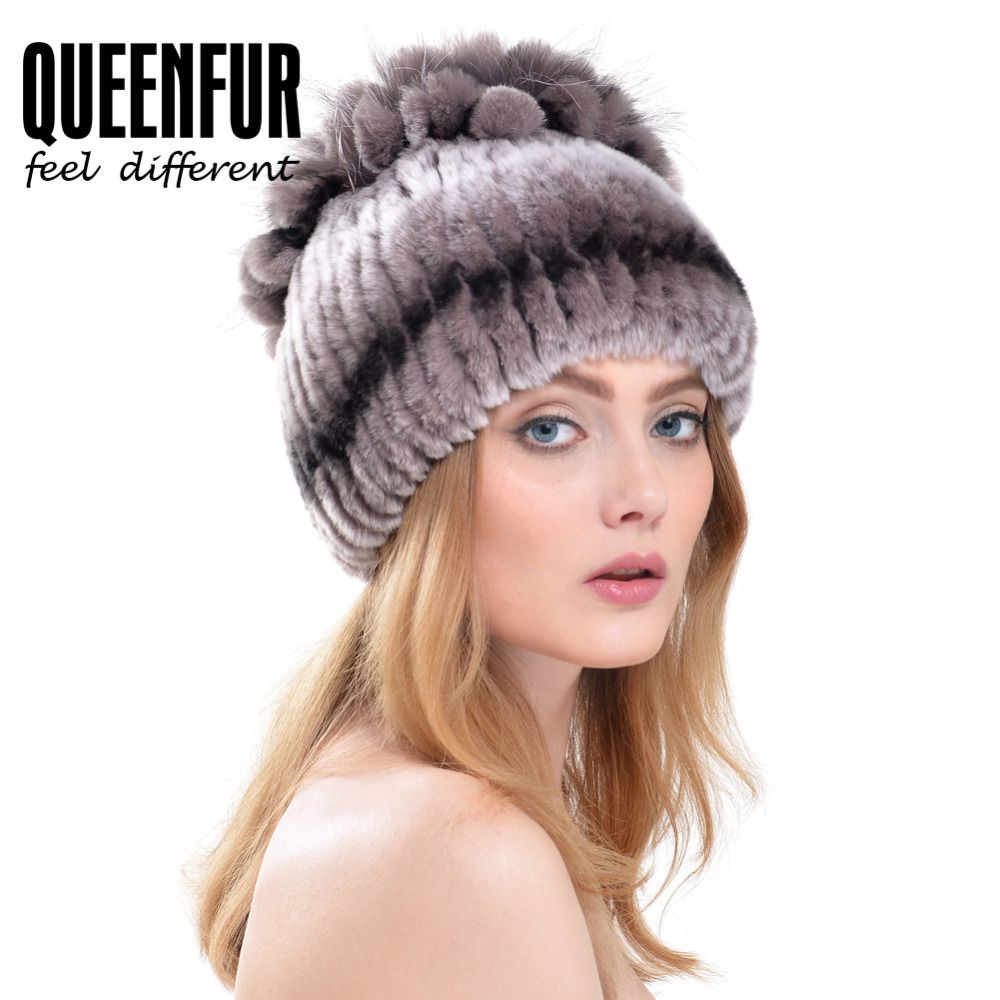 QUEENFUR Multicolor Women Real Knitted Rex Rabbit Fur Hat With Silver Fox Fur Flower Stripe Top Cap 2017 Winter Warm BeaniesОдежда и ак�е��уары<br><br><br>Aliexpress