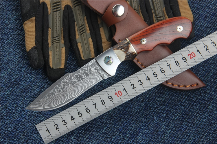 New hunting knife Damascus fixed blade red shadow wood handle camping survival knives utility EDC hand tools with leather cover<br><br>Aliexpress