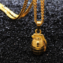 "Mens Stainless Steel Gold Solid Hand Grenade Army Bomb Pendant with 24""inch Miami Cuban Chain Hip Hop Necklace JF2206"