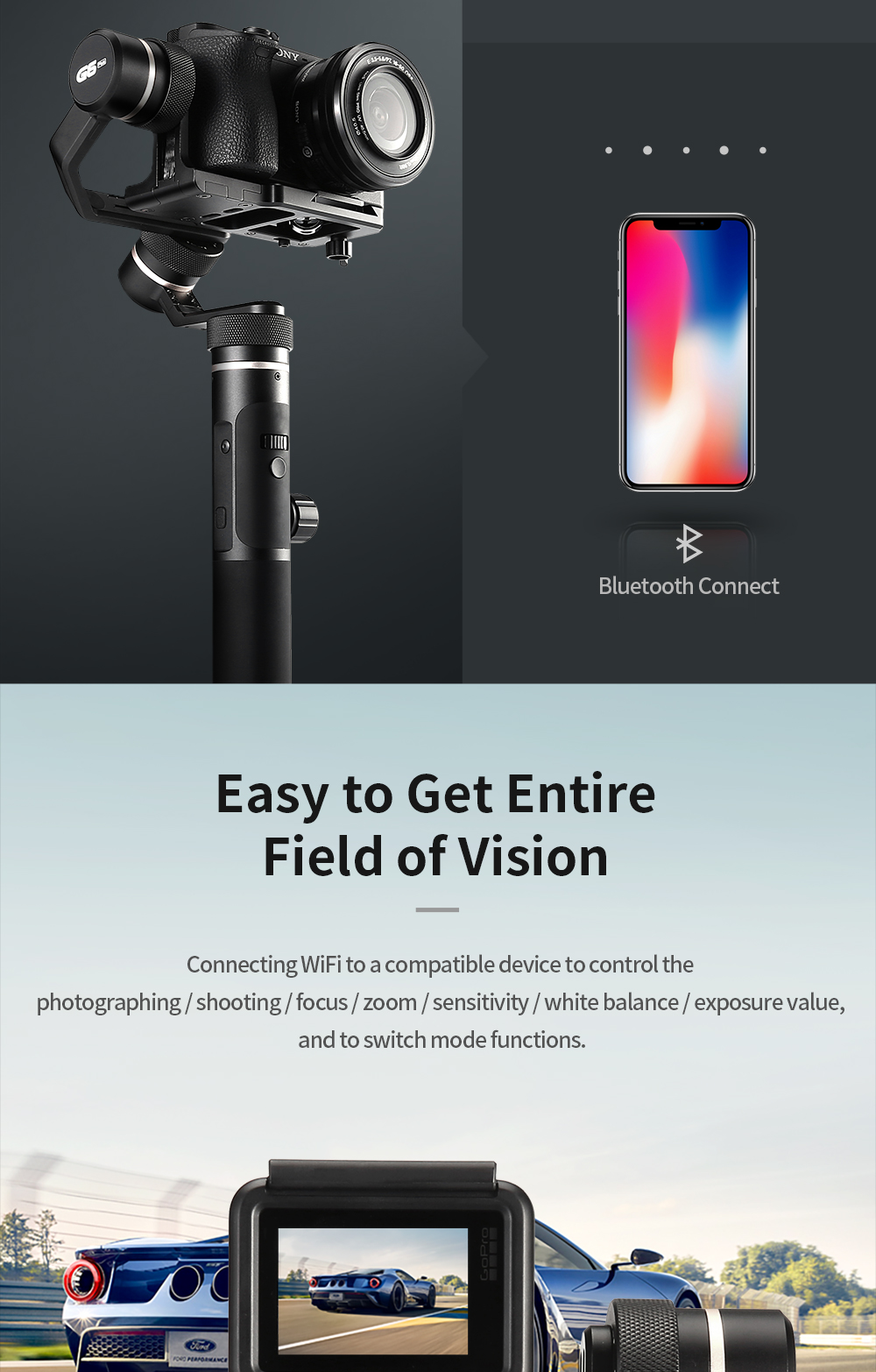 FeiyuTech G6 Plus 3-Axis Handheld Gimbal Stabilizer for Mirrorless Camera Pocket Camera GoPro Smartphone Payload 800g Feiyu G6P 5