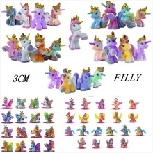 O for U Simba Filly Butterfly Witchy Stars Unicorn ect. Toy Little Horse 3CM Mini Horses Kids Animal Action Dolls 10pcs/lot(China)
