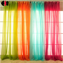 White drapes Sheer yarn tulle Orange Curtains room divider green curtains room decor children wedding ceiling drapes WP184B(China)