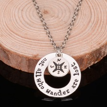 Bespmosp Compass Charm Pendant Trendy Necklace Chain Jewelry Family Find your true north south direction For Women Men Gift Hot