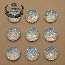 100pcs 12mm Resin Bling Clear AB Round Flatback Cabochon DIY Scrapbooking Phone/Wedding(China)