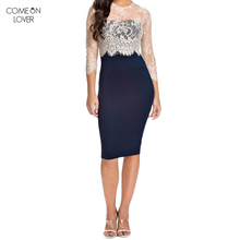 Comeonlover Cheap Clothes China Long Sleeve Zomer Jurk Knee Length O Neck Vestidos De Renda RT70065 Sexy Bodycon Lace Midi Dress