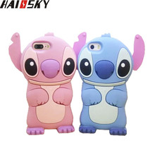 Haissky 3D Lilo Stitch Cartoon Case For iPhone 7 7 Plus 6 6s Plus 5 5S SE 4 4S Cute Soft Silicone Phone Cases Lovey Back Cover