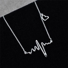 KUNIU 1Piece Silver Color Women Girls Fashion Electrocardiogram Pendant Necklace Heartbeat Heart Rhythm