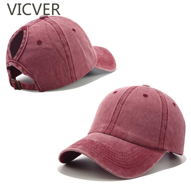 2019 Ponytail Baseball Cap Washed Cotton Hat Women  Snapback Cap Casual Summer Sun Visor Caps Female Messy Bun Outdoor Sport Hat(China)