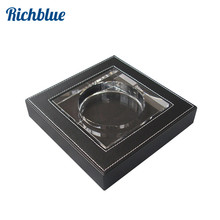 Ever Perfect Square Cigarette Ashtray Crystal +Wooden+Leather Home Decoration Accessory Large Size 19X19cm black A032(China)
