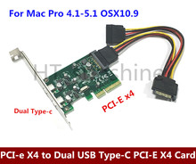 Free shipping PCI-e X4 to Dual USB Type-C PCI-E X4 Expression Card For Mac Pro 4.1-5.1 , OSX10.9 or later(China)