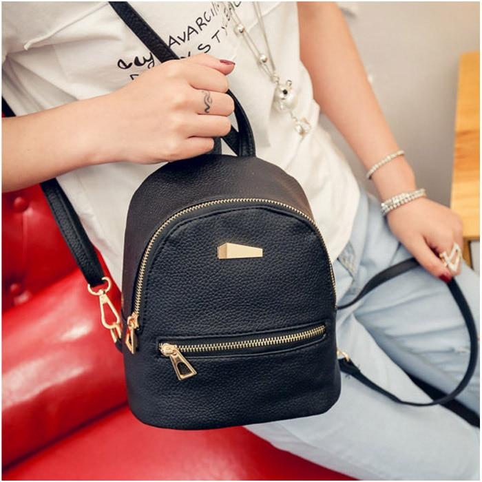 Women Girl Mini Backpack PU Leather College Shoulder Satchel School Rucksack Bag