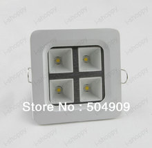 4W High power 4 LED Recessed Ceiling Down Cabinet Light Fixture Downlight Spotlight Bulb Lamp  Square Grid Grille Kitchen Store