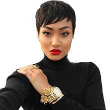 Short Black Pixie Wigs For Black Women Cheap Hair Wigs For Women Natural Female Wig Synthetic Women Heat Resistant Fake Hair
