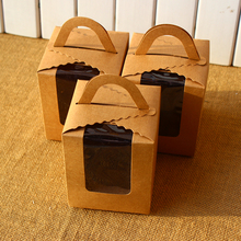 Kraft Cupcake Boxes with handle 30pcs/lot