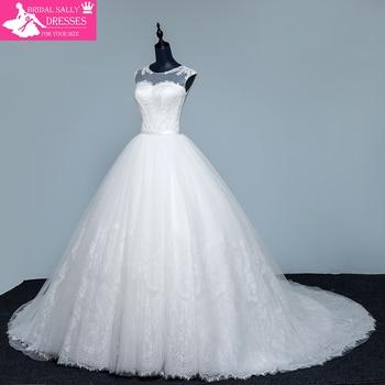 Designer A-Line Lace Wedding Dress 2017 Sexy See Through Back Sleeveless Robe De Mariee Bride Dresses MTOB1715
