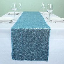 "12"" x 72"" Light Blue Sequin Table Runners For Wedding Event Party Event Banquet Table Decoration(China)"