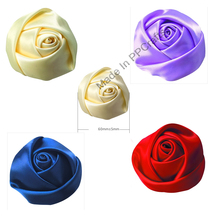 60MM Satin Ribbon Bud Rose Flower For Wedding Packing Cloth Hairbow DIY Crafts 50pcs Free Shipping