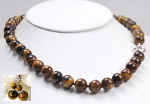 Natural 10MM tiger's-eye beads necklace 18 earring shipping free.jpg