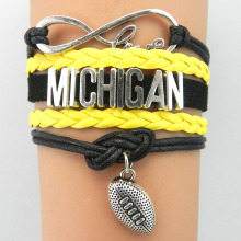 (10PIECES/LOT)Infinity Love Michigan Bracelet- NCAA Football Charm Handmade Leather Braided Custom Team Bracelet Bangle