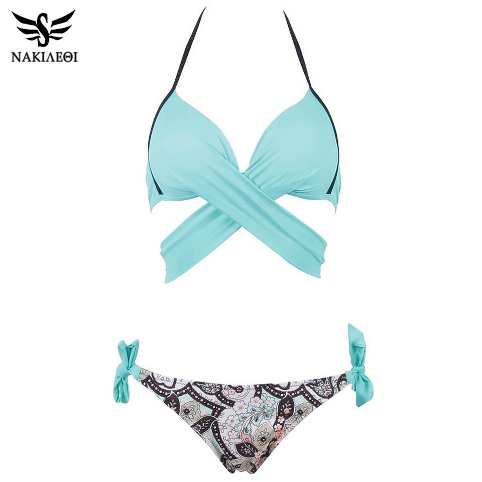 NAKIAEOI 19 Sexy Bikini Women Swimsuit Push Up Swimwear Criss Cross Bandage Halter Bikini Set Beach Bathing Suit Swim Wear XXL 25