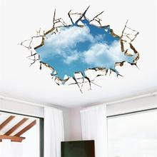 vivid creative 3D window hole landscape blue sky white cloud home decal wall sticker for house living room roof decals stickers(China)