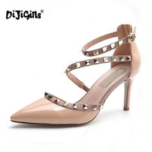 DIJIGIRLS NEW woman High heels shoes Ladies Sexy Pointed Toe pumps Buckle rivets nude heels dress wedding shoes