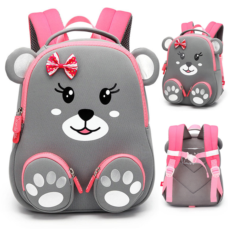 School-Backpack Kids Bag Girls Bear Cute Lovely Fashion for 3D Animals-Design Children title=