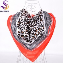BYSIFA Ladies Sexy Leopard Print Square Scarves Brand Orange Red Silk Scarf Shawl Imitated 90*90cm Spring Autumn Satin Scarves