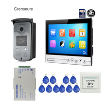 "Free Shipping 9"" Color Screen UI Display Video Door Phone Intercom Recording System + RFID Access Doorbell Camera + POWER 8G TF(China)"