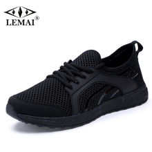 LEMAI Leisure Men Black Sneakers Summer Spring Breathable Air Mesh Boy Running shoes For Men Outdoor Sport Trainers f022-B(China)