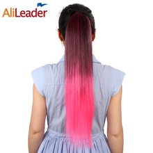 "AliLeader Ombre Ponytail Extension Clip In Fake Hair Pieces 20"" 51Cm Long Straight Synthetic Hair Pony Tail Hair Extensions(China)"