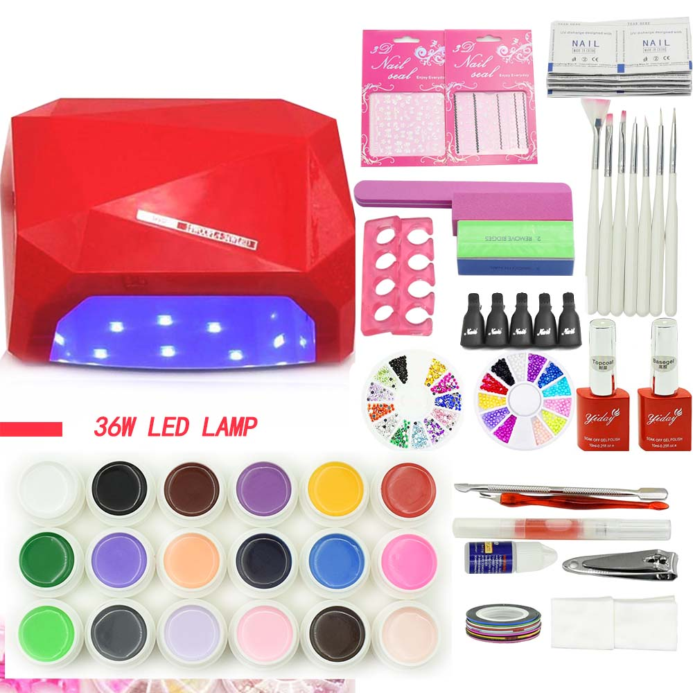 nail art tools manicure set 18 pieces nail gel polish painting varnishes Shellac set 36W LED lamp base gel top coat nail kits<br>