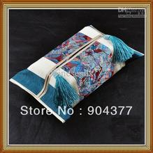 Patchwork Decorative Napkin Boxes Covers Chinese style High End Cloth Art Cotton Silk Brocade Tassel Long Facial Tissue Cases(China)